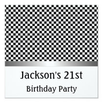 Birthday Party Silver Black & White Check Pattern Invitation