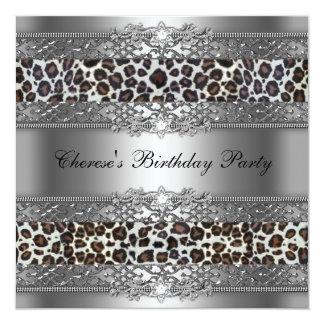 Birthday Party Silver Cheetah Diamond Card