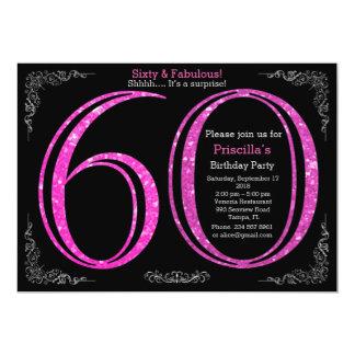 Birthday party, Sixty, great Gatsby, black silver Card