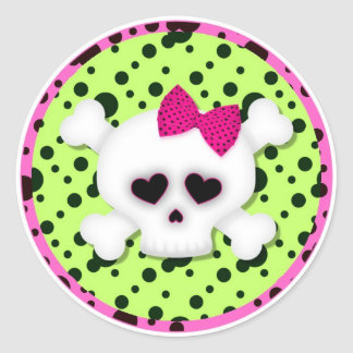 Birthday Party Skull Cupcake Toppers Stickers