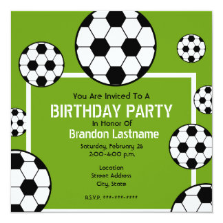 Birthday Party - Soccer Field & Soccer Balls Card