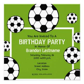 Birthday Party - Soccer Field Soccer Balls Custom Announcement
