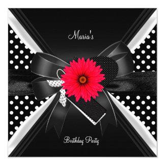Birthday Party Spot Polka Dot  Black White Red Invitation