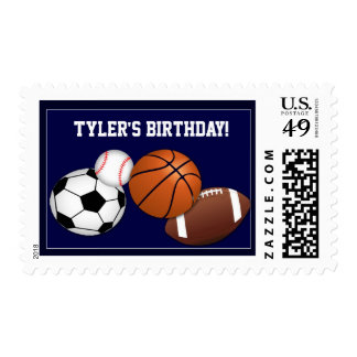 Birthday Party stamp with sports theme