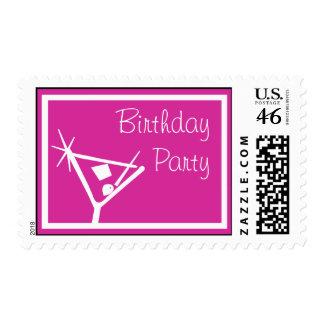 Birthday Party Stamps Martini Glass Raspberry