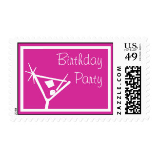 Birthday Party Stamps Martini Glass (Raspberry)