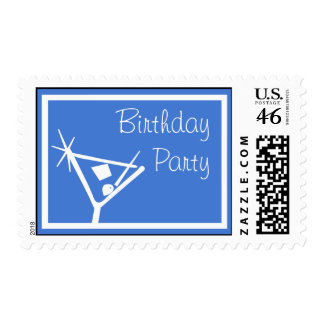 Birthday Party Stamps Martini Glass Royal Blue