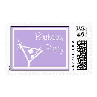 Birthday Party Stamps Martini Glass Violet Purple