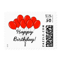 Birthday party stamps with red balloons