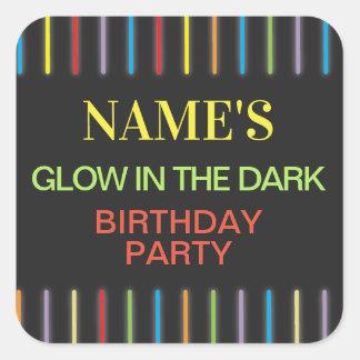 Birthday Party Stickers Glow in the Dark Neon