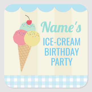 Birthday Party Stickers Ice Cream Blue Lolly Cone