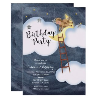 Birthday Party Storybook Nursery Rhyme Cow & Moon Invitation