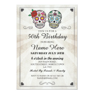 Birthday Party Sugar Skulls Invite Halloween