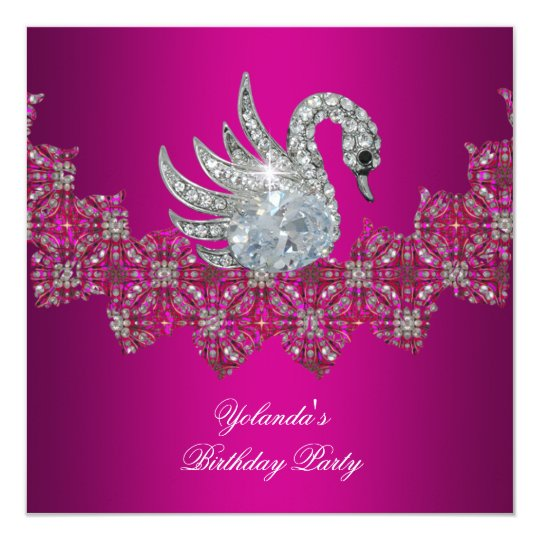 Birthday Party Swan pink Floral Black Card