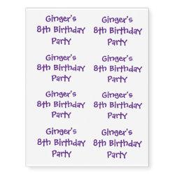 Birthday Party Tattoos