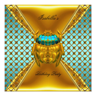 Birthday Party Teal Blue Gold Beetle 2 Card
