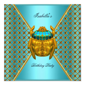 Birthday Party Teal Blue Gold Beetle 3 Card