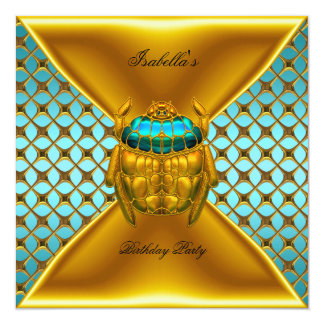 Birthday Party Teal Blue Gold Beetle Card
