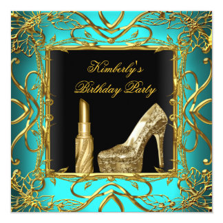 Birthday Party Teal Blue Gold Black Shoe Lipstick Card