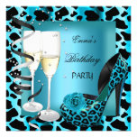 Birthday Party Teal Blue Leopard Black Shoes Custom Announcements