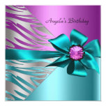 Birthday Party Teal Blue Pink Silver Zebra Black Custom Invitations