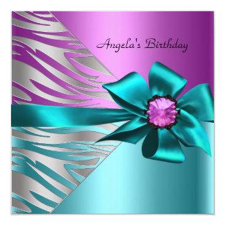 "Birthday Party Teal Blue Pink Silver Zebra Black 5.25"" Square Invitation Card"
