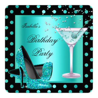 Birthday Party Teal Blue Turquoise Black 2 Card