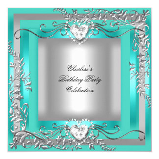 "Birthday Party Teal Blue Turquoise Silver 5.25"" Square Invitation Card"