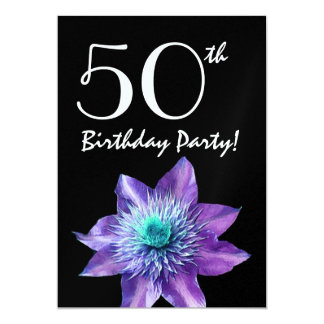 Birthday Party Template Purple Passion Flower 5x7 Paper Invitation Card