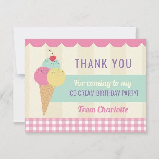 Birthday Party Thank You Invite Card Ice Cream