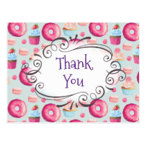 Birthday Party Thank You Sweets Pattern Custom Postcard