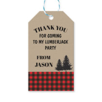 Birthday Party Thank You Tags Lumberjack Red Plaid