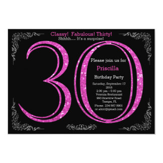 Birthday party, thirty, great Gatsby, black silver Card