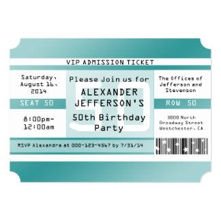 """Birthday Party Ticket Shaped Invitations 5"""" X 7"""" Invitation Card"""