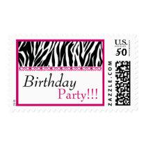 Birthday Party Trendy Black White Pink Zebra Print Postage