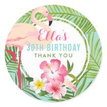Birthday Party   Tropical Flamingo Thank You Classic Round Sticker