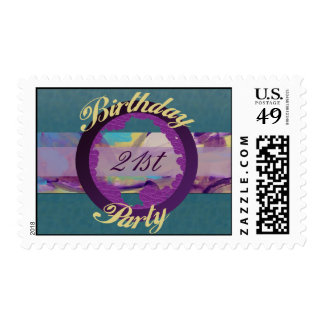 Birthday Party Turquoise swirl Postage