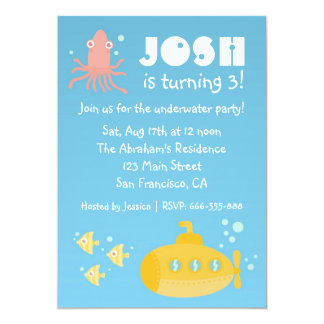 Birthday Party - Underwater theme with submarine 5x7 Paper Invitation Card