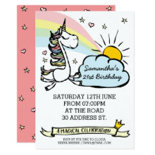 Birthday Party Unicorn Invitation