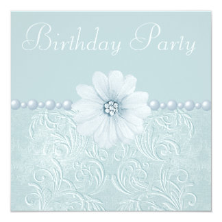 Birthday Party Vintage Blue Flowers & Pearls Card