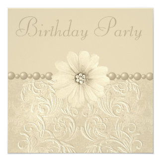 Birthday Party Vintage Flowers & Pearls Card