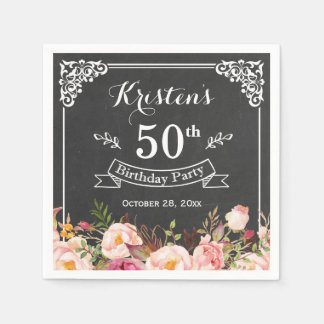 Birthday Party Vintage Frame Chalkboard Flowers Napkin