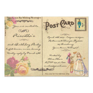 Birthday Party, vintage, old postcard style,script