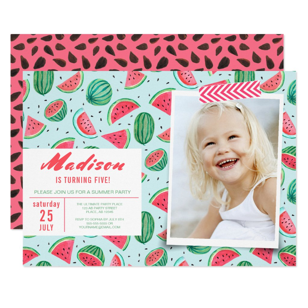 Birthday Party | Watermelon Fruit | Invitations