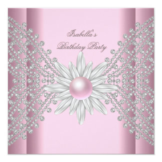 Birthday Party White Pink Flower Pearl Diamond 2 Card