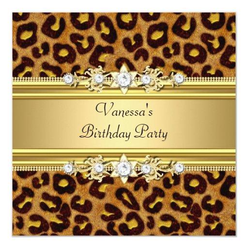 birthday party wild animal print gold black card zazzle
