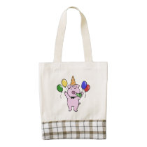 Birthday party with a cute pig|choose back color zazzle HEART tote bag