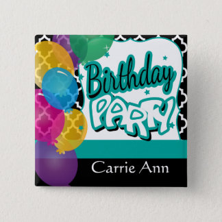 Birthday Party with Balloons Pinback Button