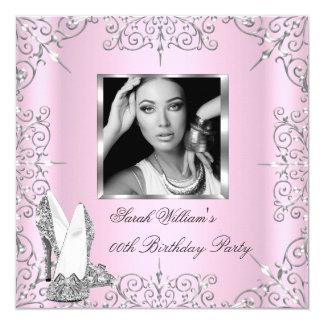 Birthday Party Women's Pink Silver Heels Photo Invitation