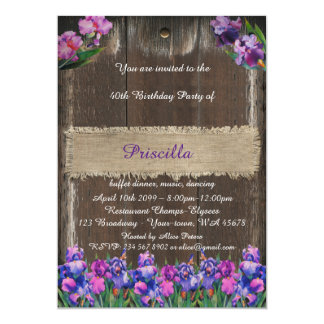 Birthday party, wood & burlap, flowers, back wood card